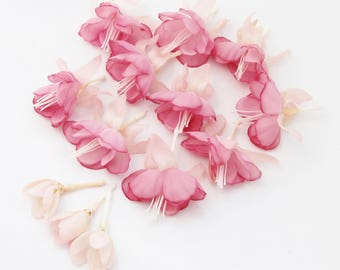 Vintage Pink Fuchsia Blossoms | Wedding Flowers | Hair Crown | Millinery Flowers | Wreath Supplies | Collage Scrapbook | The Blue Hutch