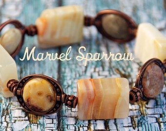 Granite Square Beads and Flat Round Beads with Orange & Yellow Flecks, Antique Copper Neutral Tones Stretch Bracelet