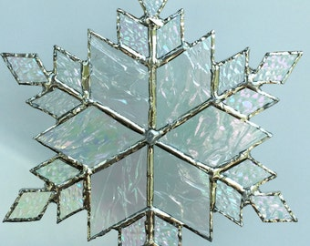 stained glass snowflake suncatcher (design 9B)