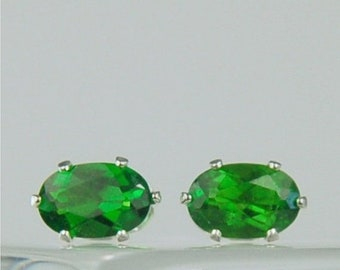 MothersDaySale Chrome Diopside Stud Earrings Sterling Silver 6x4mm Oval 1.05ctw Natural Untreated Emerald Green