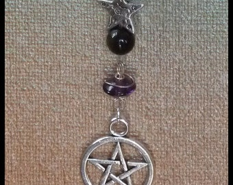 Spiritual Protection Pentacle Gemstone Talisman -  amethyst gold sheen obsidian totem nature lover gift crystal gem stone harmony unity