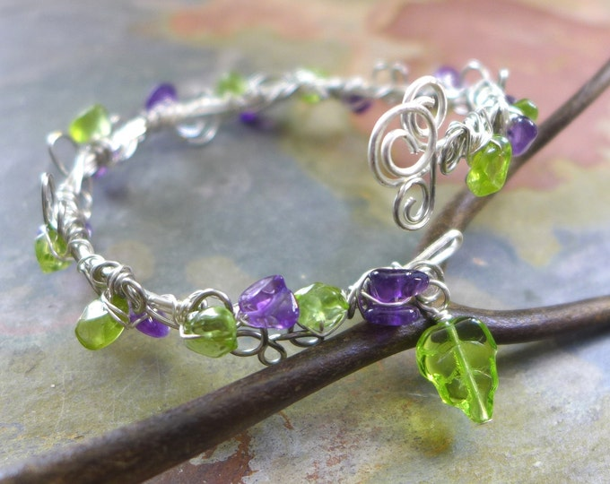Wire Wrapped Peridot/Amethyst Bracelet,Adjustable /Amethyst Silver bracelet,August Birthstone Bracelet,Silver Bangle/Cuff Wrap bracelet,