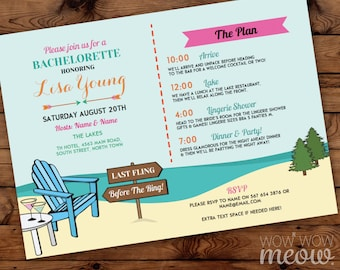 Bachelorette Invite Itinerary Girls The Lakes Invitation Bridal Shower INSTANT DOWNLOAD Schedule Plan Weekend Cocktails Beach Printable