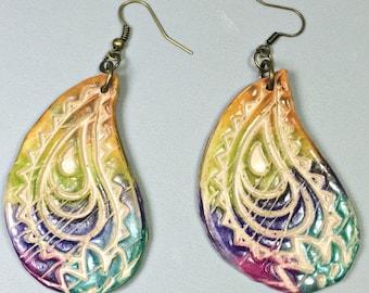 Paisley Earrings, polymer clay jewelry, unique earrings, drop earrings, Rainbow Chakra, Boho Earrings