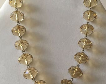 Crystal Beaded Topaz-Colored Necklace Chocker