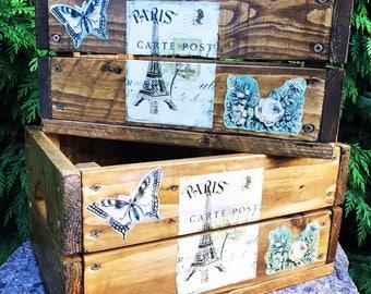 Rustic vintage storage crates