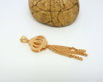 Tassel pendant, Acorn 43 * 13.5 mm Golden brass (USBD02)
