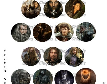 Lord of the Rings 1 inch Bottle Caps Digital Download  5.8 x 7.5