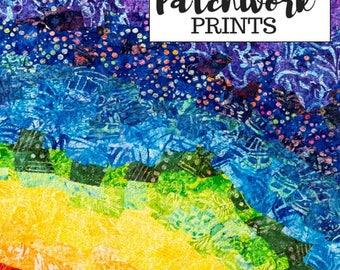 Printable Rainbow Quilt Fiber Art Print Downloadable