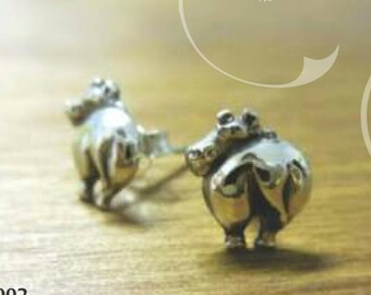 Hippo backside stud earrings