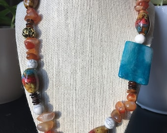Beaded asymmetrical statement necklace