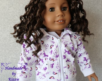 Hoodie Sweater for 18 inch dolls, Kizzie Creations, 18 inch doll clothes, doll sweater