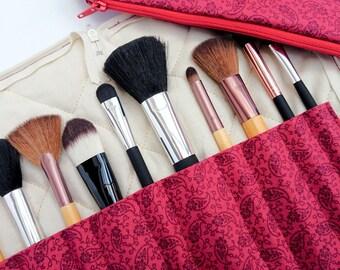 Travel makeup brush holder and bag, red brush holder, paisley brush holder, gift for her, gift for sister, red gift