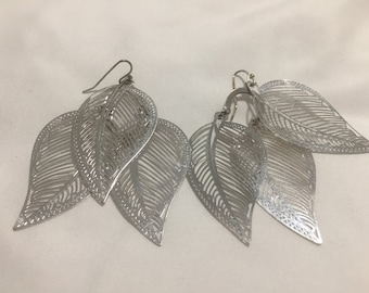 Feathery Silver Leaf Earrings