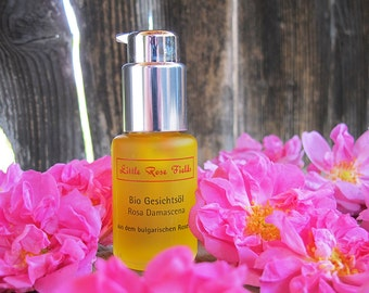 Organic Rose Face Oil with Pure Organic Rose Essential Oil Rosa damascena - from the Bulgarian Rose Valley