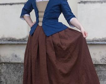 Custom made 18th century skirt in linen - 1700 colonial Halloween cosplay reenactment Historical costume living history larp rococo georgian