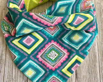 Colorful Spring Tie On Bandana Reversible