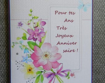 Voeux010 card. Birthday, flowers, girly card. Handmade, handcrafted