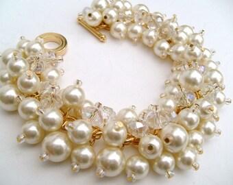 Pearl Bracelet, Ivory Pearl Bridesmaid Bracelets, Bridesmaid Jewelry, Custom Colours, Cluster Bracelet, Pearl Beaded Bracelet
