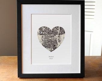 Madrid Spain Heart Print, Spain Map Print, Heart Map Print, Wedding Engagement or Anniversary Gift