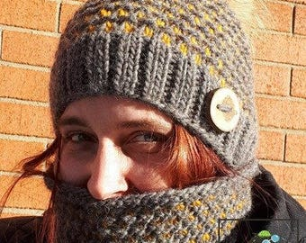Kelly-Ann's kit pattern, knitting pattern, hat and cowl pattern