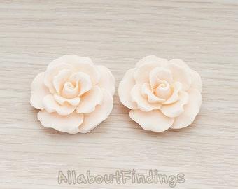 CBC157-LP // Light Pink Colored Ruffle Rose Flower Flat Back Cabochon, 2 Pc
