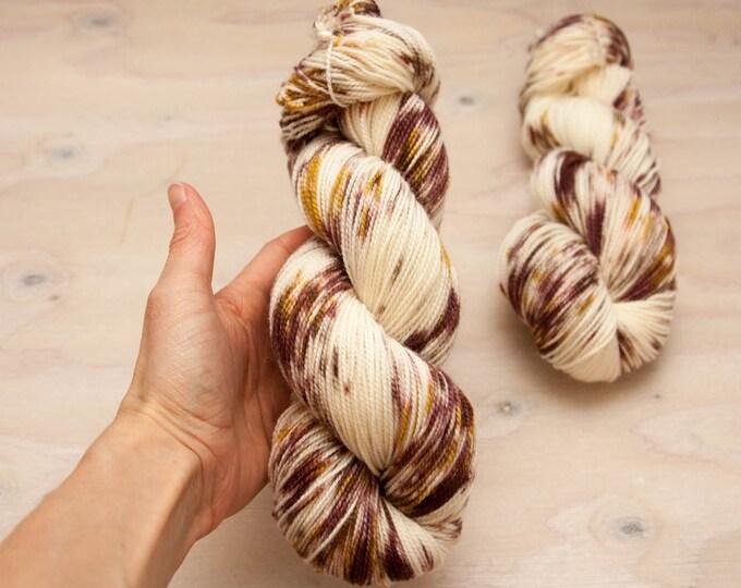Hand dyed yarn, Superwash merino, nylon yarn, sock yarn, hand dyed sock yarn, speckled yarn, pink yarn, mauve yarn, grey yarn, tan yarn