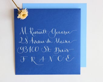 Envelope calligraphed by hand. Wedding, birthday, bar mitzvah event. Frivolous style