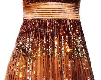 Gold Sequin Dress with Removable Straps and Satin Tie Back Sash - Fits Size XSmall