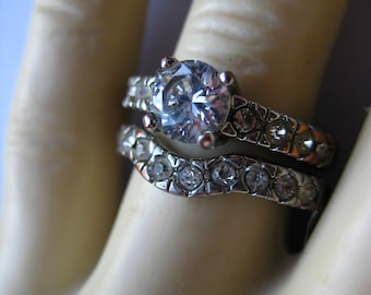 Clear  Stone Vintage Engagement Style  Ring Set Sparkling Pair