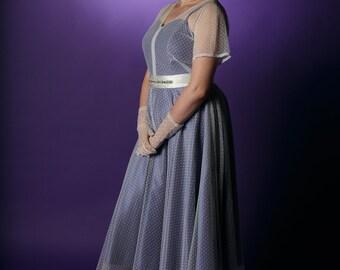 Vintage style tulle overdress, polka dot dress, sheer floaty dress, wedding dress, vintage style bridal gown, tea length sheer dress