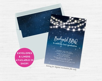 Backyard BBQ Invitation Printable, Patio Party Graduation Invite, Graduation Party, Housewarming, Summer Party, High School, College