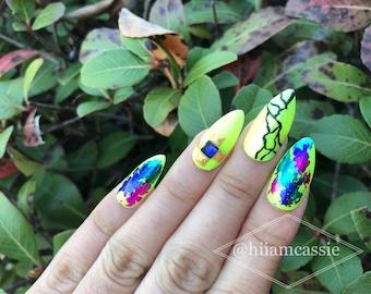 Thunder | press on nails | glue on nails | stick on nails | fake nails | false nails | Handmade from USA