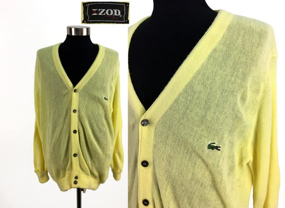 RARE FIND Vintage IZOD Cardigan/Yellow Lacoste Cardigan/Retro Izod Sweater/60's Izod Lacoste Cardigan/Size S/28