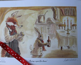Having a guest for dinner by Leila Winslade. A limited edition print from Farcical Foxes