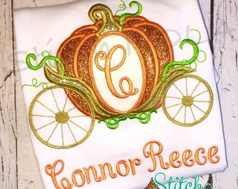 Pumpkin Carriage, Princess Carriage Shirt, Bodysuit, Bubble, Romper or Dress, Princess Carriage Birthday Shirt, Any Letter or Number
