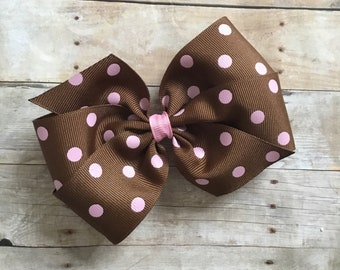 Chocolate Brown and Pink Polka Dot Bow by Cheryl's Bowtique