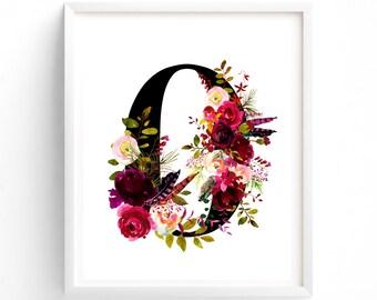 Letter O,  Nursery Wall Art, Nursery Prints, Printable Letter Monogram, Floral, Flower Lettering, Nursery Art, Baby monogram