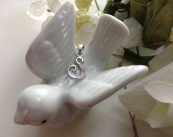 "Diamond Accent 925 Initial S Pendant Necklace Sterling RJ Script 19"" Chain Monogram Vintage Bridal Alphabet Letter Jewelry Mother Gift"