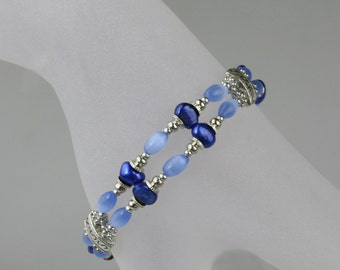 Blue pearl cat eye double strand bracelet bridesmaids gifts Free US Shipping handmade Anni Designs