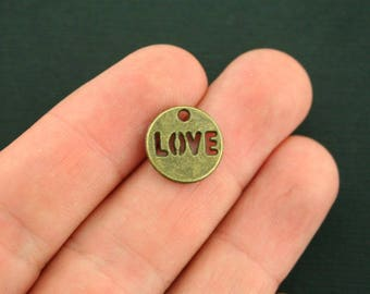 10 Love Charms Antique Bronze Tone Round Tag - BC167