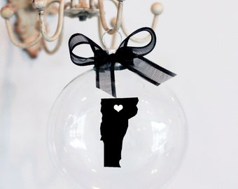 State of Vermont Christmas Ornament, Custom, Travel, USA
