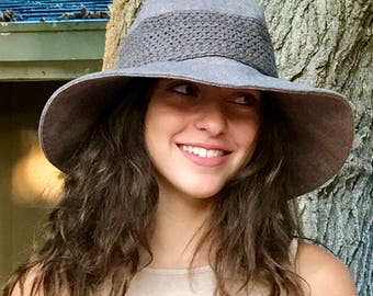 Wide Brim Wool Hat, Sun Hat Vintage Taupe Wool, Wide Brim Hat with band, Floppy Hat,  Travel Hat, Packable Hat, Festival Hat