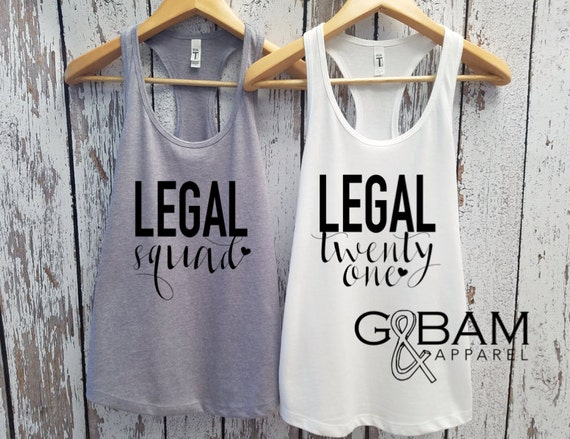 Legal Twenty one / Birthday Tank top / 21st Birthday tank / 21st Birthday shirt / Finally legal tank