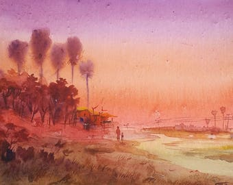 Sunset Palm Tree Village - Original Watercolor Painting on Paper