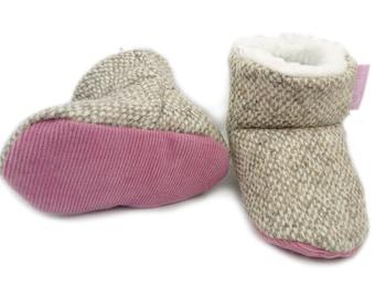 Baby Girl Gift, New Baby Gift, Baby Booties, Baby Shower Gift, Tweed Booties, Challis Booties, Baby Boots, Stay on Baby Booties, Warm Boots