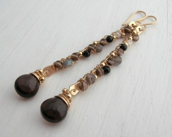 Smokey Quartz Long Gemstone Earrings