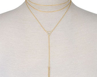 Triangle Double cord bar necklace