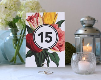 Beautiful Romantic Floral Table Number Wedding Party Marker