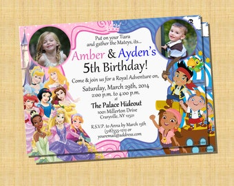 Princess & Pirate Birthday Invitation Twins - Printable